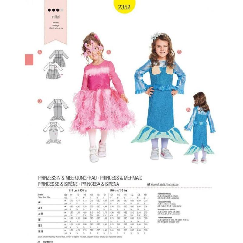 Patron Burda 2352 : Princesse et sirène Taille : 104-134