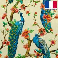 Velours ras écru motif paon sur arbre en fleur