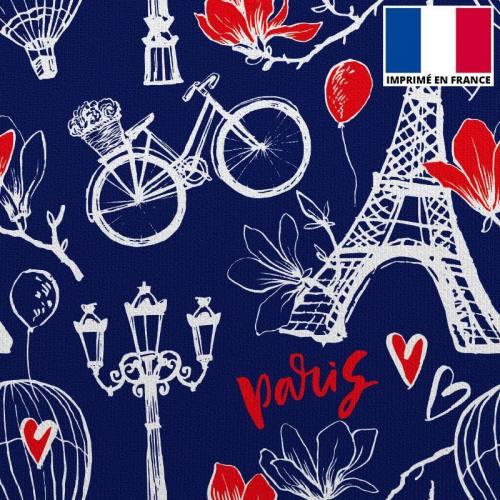 Velours ras bleu marine imprimé coeur et Paris