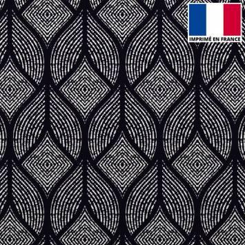 Velours ras noir imprimé géométrique abstrait blanc