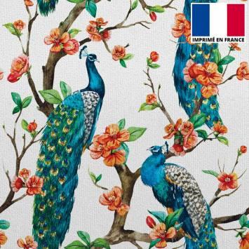 Velours ras écru imprimé paon sur arbre en fleur
