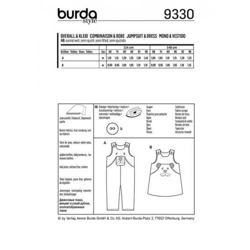 Patron Burda 9330: Combinaison et robe Taille : 68-98 cm