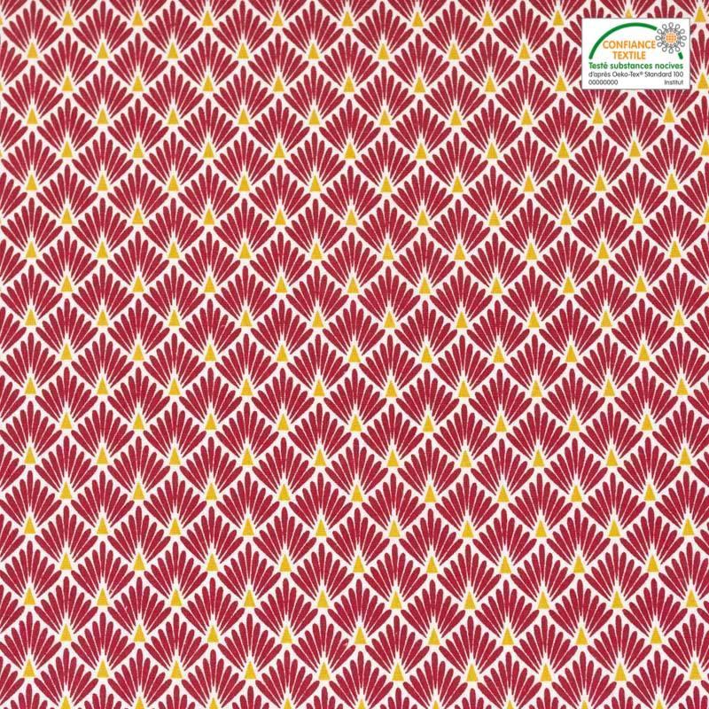 Coton imprimé écailles amarante et ocre