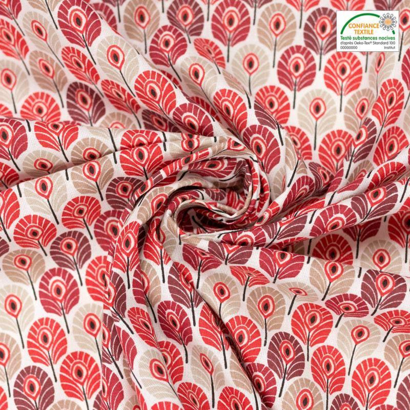 Coton rouge et grège imprimé plume de paon