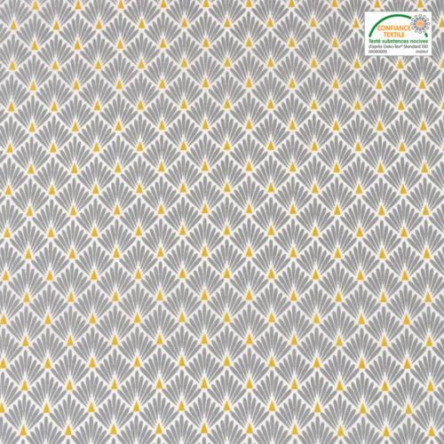 Coton imprimé écailles grises et ocres