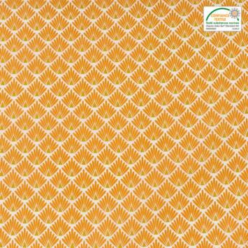 Coton imprimé écailles safran et ocre