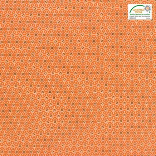 Coton orange petit motif asanoha