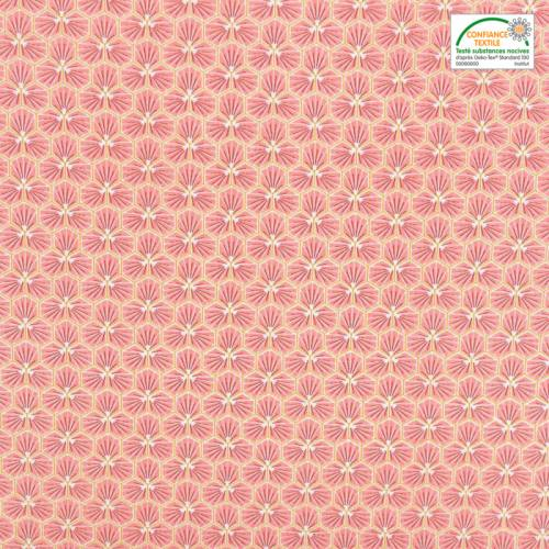 Coton rose motif trèfle riad