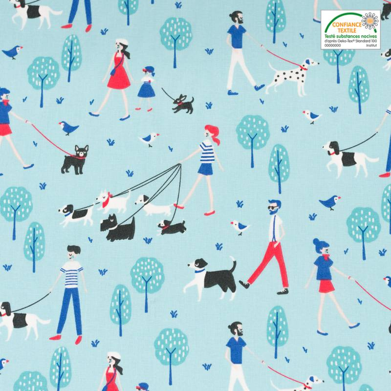 Coton bleu motif promenade de chiens