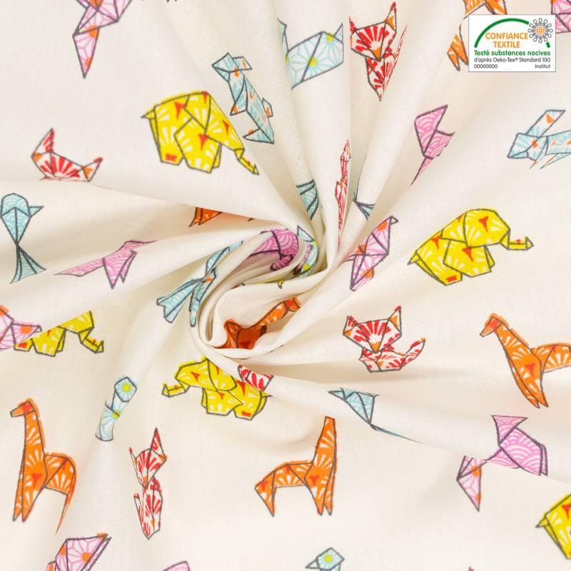 Coton écru motif origami animaux