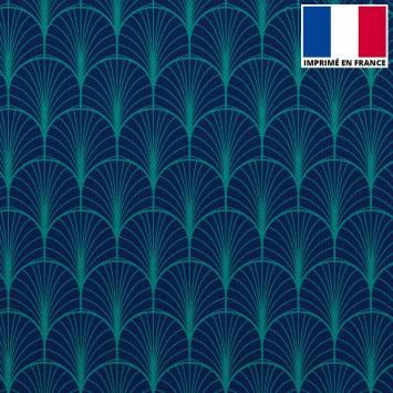 Velours ras bleu marine imprimé écaille vert canard