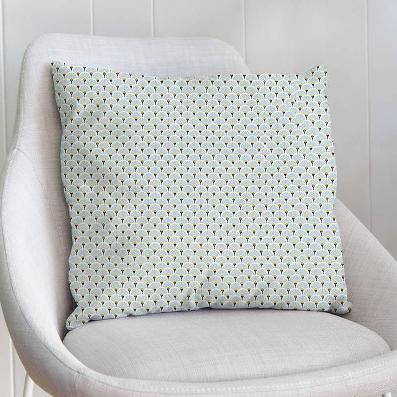 Coton imprimé éventail vert opaline et ocre