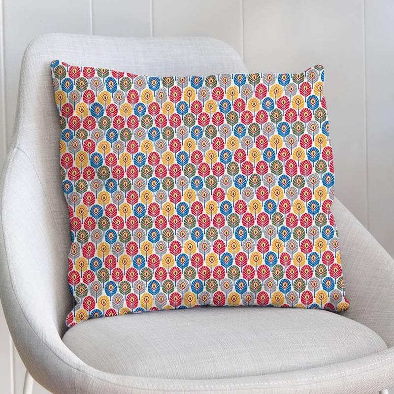 Coton multicolore imprimé plume de paon