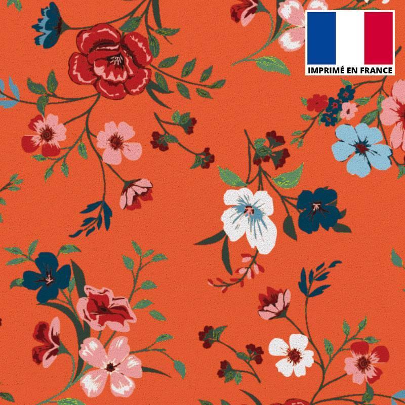 Tissu scuba orange sanguine imprimé floral