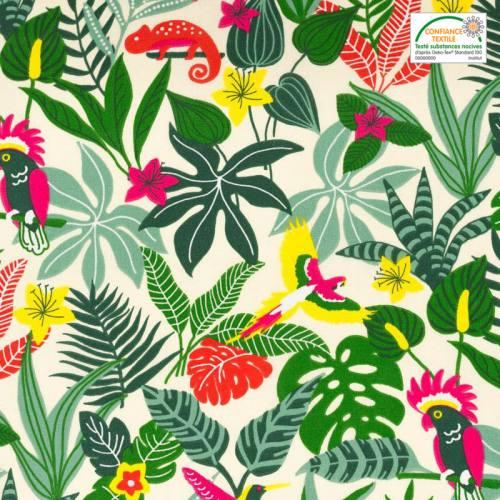 Coton écru motif feuilles des Caraïbes