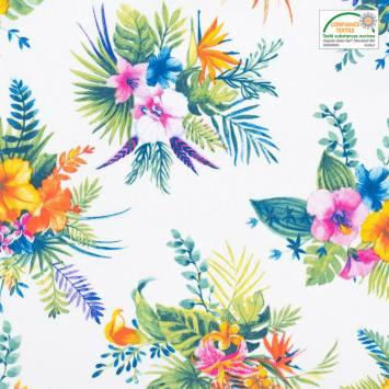 Coton blanc motif fleur tropicale et oiseau du paradis