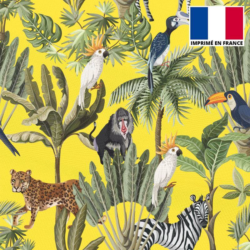 Mousseline crêpe imprimée jungle et animaux jaune