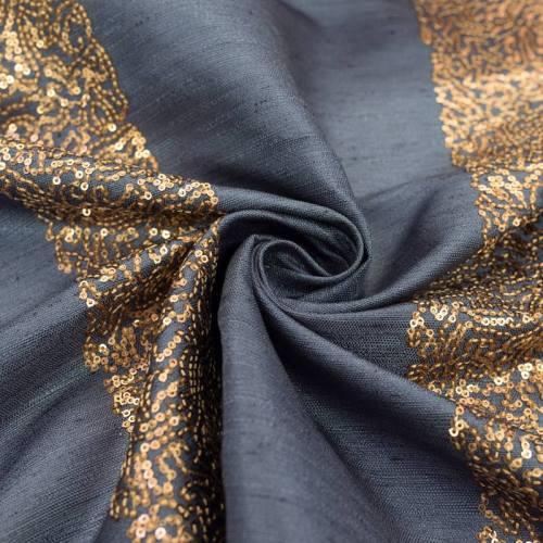 Tissu bleu foncé bandes de petits sequins cuivrés