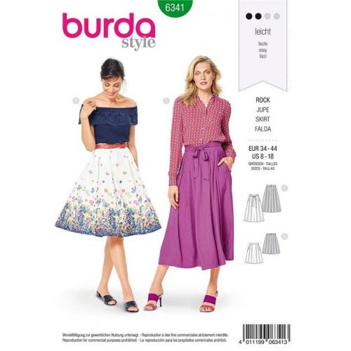 Patron Burda 6341 : Jupe Taille 34-44