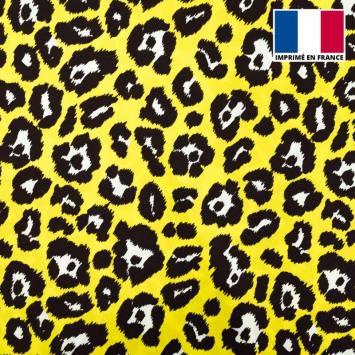 Satin imprimé léopard jaune