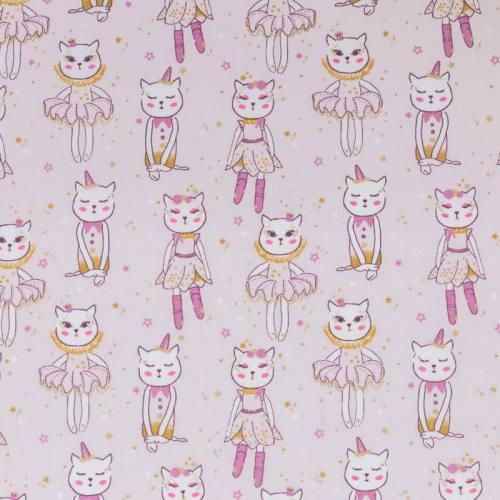 Coton rose motif danseuse chat
