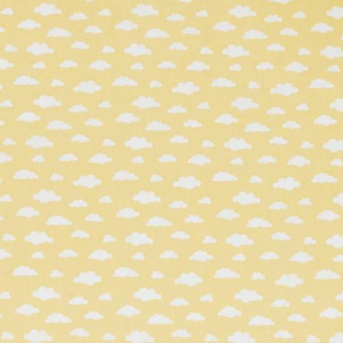 Coton jaune imprimé nuage