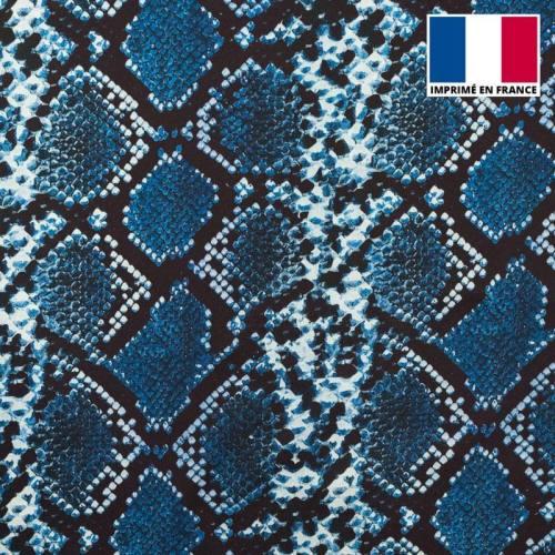 Satin imprimé peau de serpent bleue