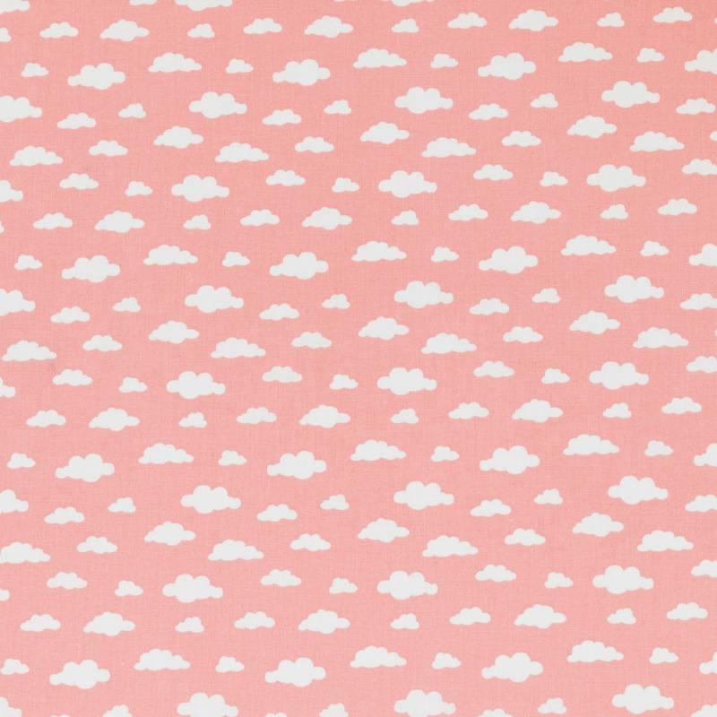 Coton rose thé imprimé nuage