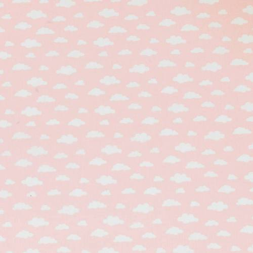 Coton rose clair imprimé nuage