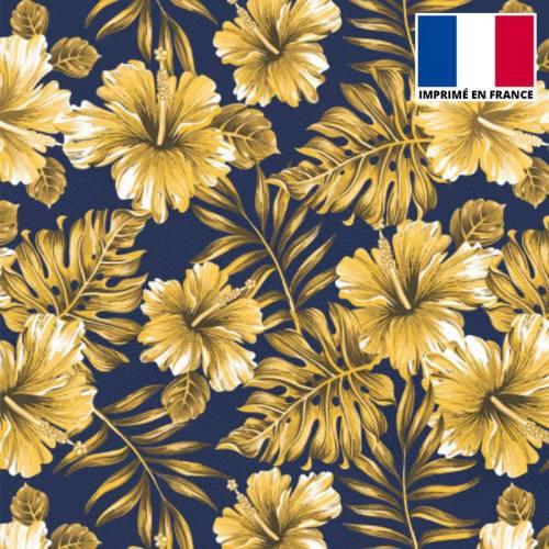 Tissu scuba bleu marine imprimé fleurs tropicales