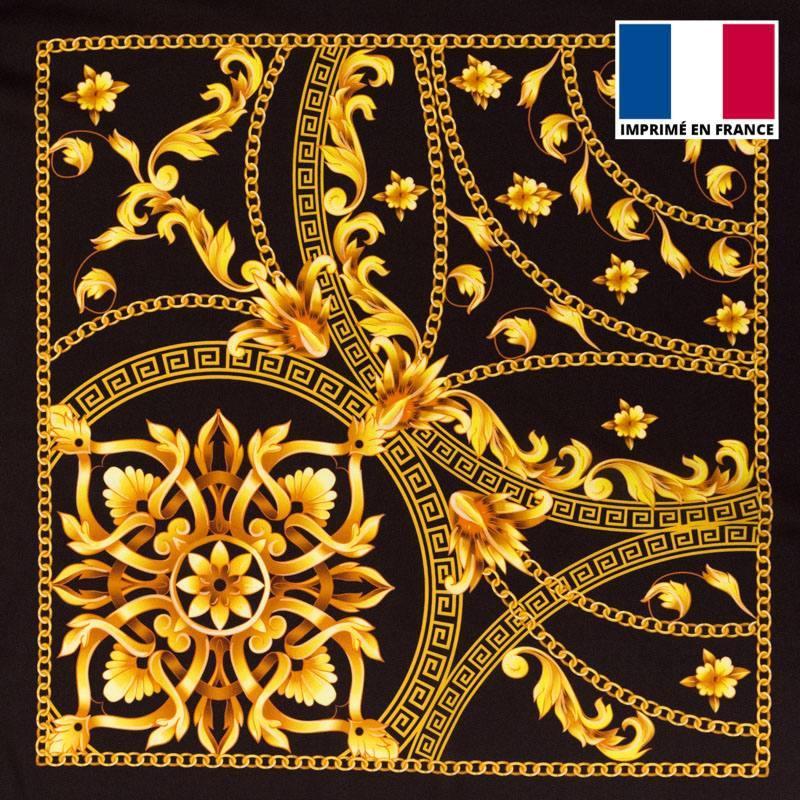 Satin noir imprimé foulard doré