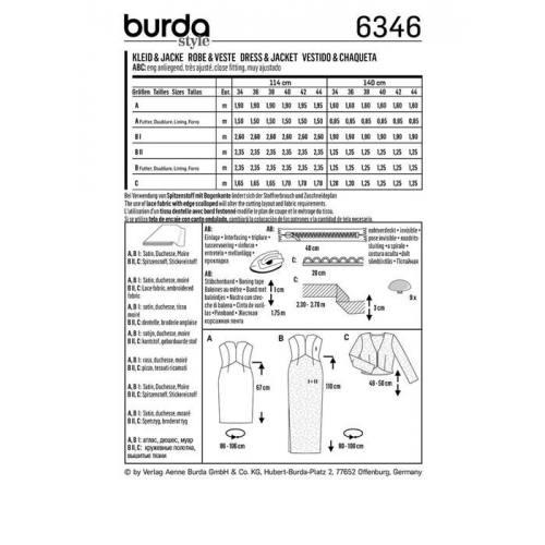 Patron Burda 6346 : Robe Taille : 34-44