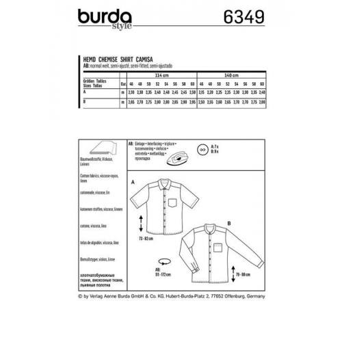 Patron Burda 6349 : Chemise Taille : 46-60