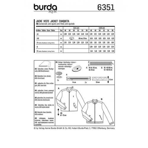 Patron Burda 6351 : Veste Taille : 46-56