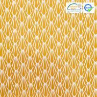 Coton blanc motif écaille art déco ocre oraz