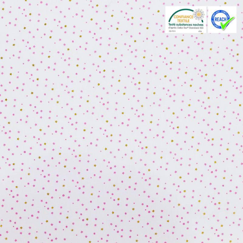 Coton blanc motif étoile et pois rose et or lerius