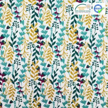 Coton blanc motif branches feuillues vertes et jaune foncé