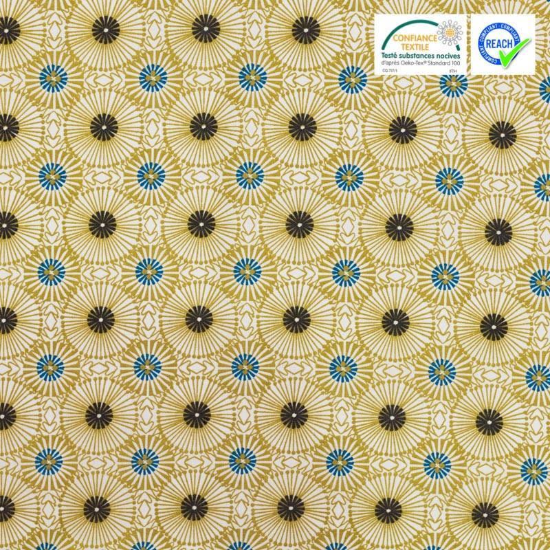 Coton blanc motif fleur jaune moutarde womby
