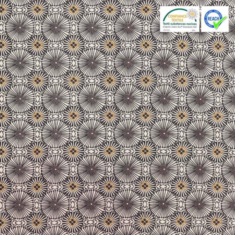 Coton blanc motif fleur gris foncé womby