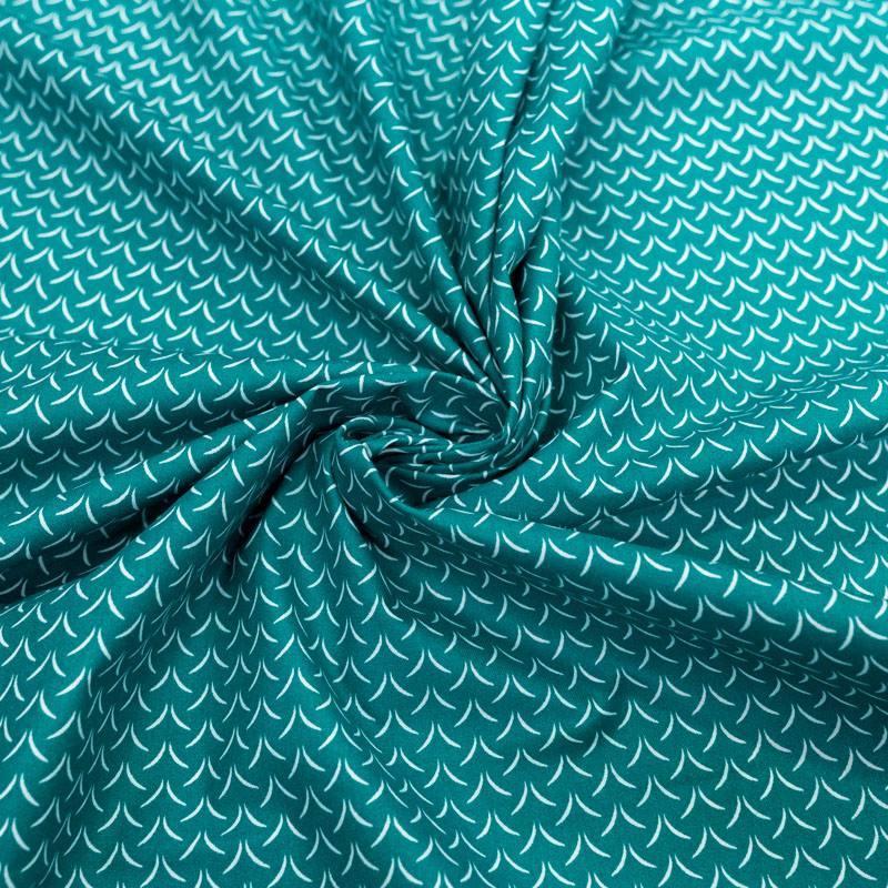 Coton vert canard motif herbe blanche cil
