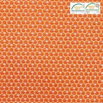 Coton orange motif trèfle