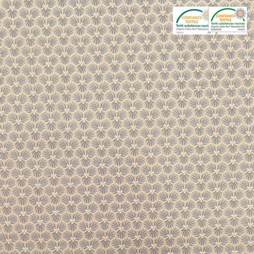 Coton grège motif trèfle riad