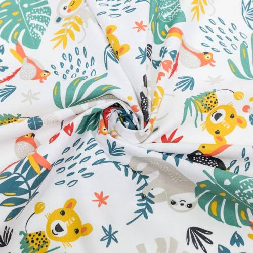 Coton blanc motif animaux de la jungle et feuille tropicale payadi