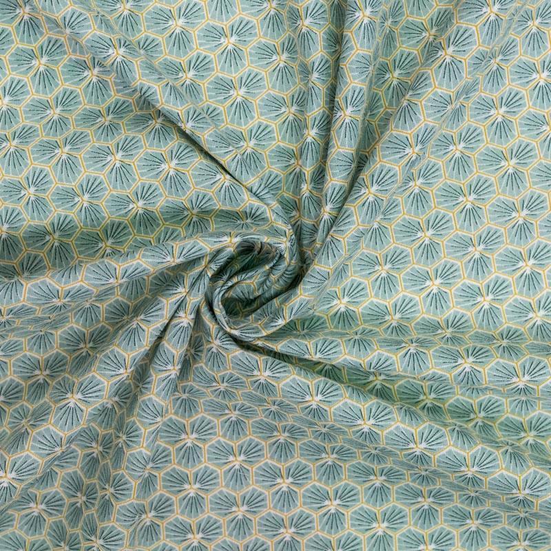 Coton vert d'eau motif trèfle
