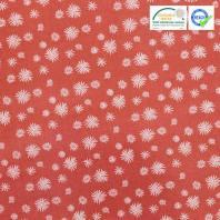 Coton rouge brique motif pissenlit blanc