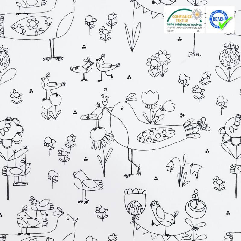 Coton à colorier motif faune et flore