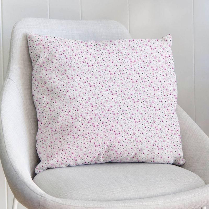 Coton rose pastel motif fleur blanche et rose foncé izella