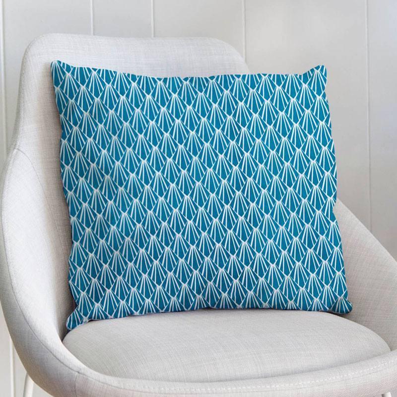 Coton blanc motif écaille art déco bleu pétrole oraz