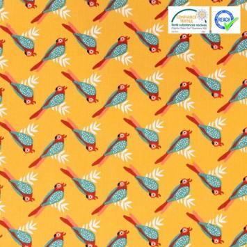 Coton ocre motif oiseau tropical