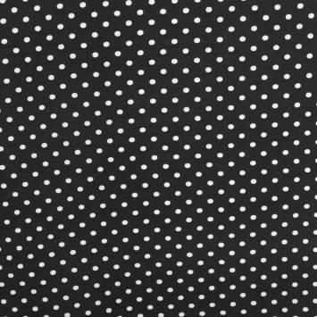 Tissu viscose noir à pois blancs
